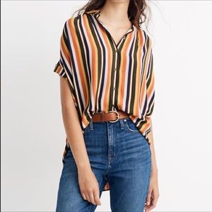 Madewell central drapey button down striped shirt